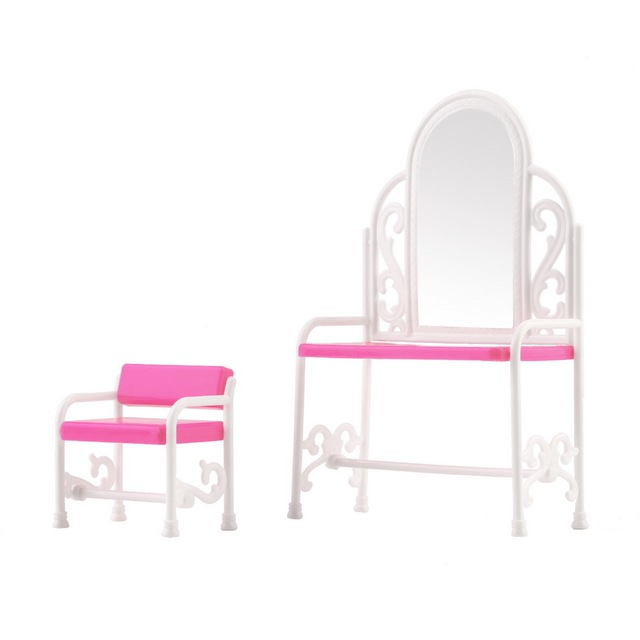 bedroom dressing table chair best lumbar support for detachable kid doll set barbies dolls decoration chairs home children furniture accessories
