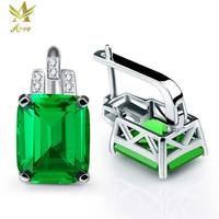 ANGG 8.2 ct Square Clip Earrings 925 Sterling Silver Jewelry for Women Green Nano Russia Created Emerald Wedding Clip Earring