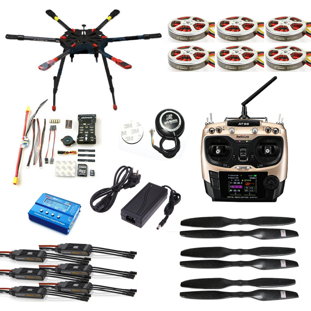 JMT DIY Full Set Hexacopter GPS Drone Aircraft Kit Tarot X6 6-Axis TL6X001 PX4 32 Bits Flight Controller Radiolink AT9S TX&RX tarot tl68b14 6 axis aircraft hexcopter fy680 fy650 inverted battery rack ship with tracking number