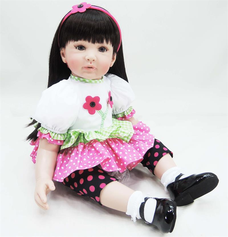New Arrival Baby Girl Reborn Dolls Kids Toy Silicone Vinyl 60 cm Real Life Bebe Reborn Doll wear beautiful Flower dress for girlNew Arrival Baby Girl Reborn Dolls Kids Toy Silicone Vinyl 60 cm Real Life Bebe Reborn Doll wear beautiful Flower dress for girl