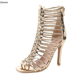 Olomm New Women Shiny Sandals Sexy Thin High Heel Sandals Nice Open Toe Gorgeous Gold Silver Grey Shoes Women US Plus Size 3-16