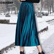 22ef88a39fce0 Winter Velvet Skirt For Women Elastic High Waist Midi Long Pleated Skirts  Female 2018 Autumn Fashion Clothing Plus Size 4XL