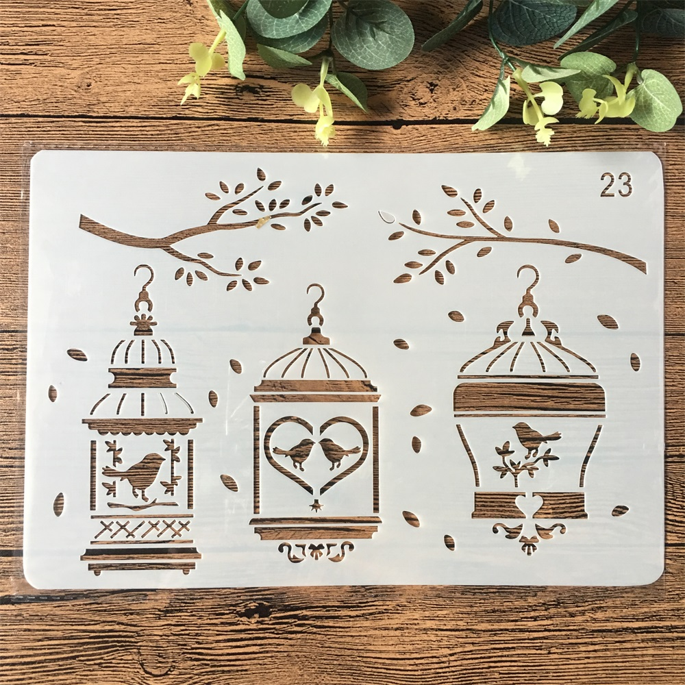 26cm Bird Cage Branch DIY Craft Layering Stencils Painting Scrapbooking Stamping Embossing Album Paper Card Template