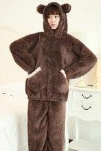 2018 New Autumn Women Flannel Pajamas Set Bear Hooded Pajamas Sleepwear Fashion Coral Fleece Thickened Warm Pyjamas Home Suit