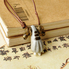 Cat Feet Pendants Necklaces Ceramic Foot Statement Charm Choker Weave Rope Chain Bronze Bell Jewelry Accessories Adjustable(China)