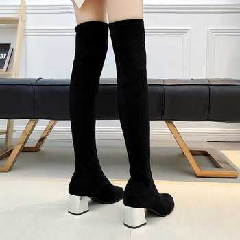 Size 35-43 Winter Over The Knee Boots Women Stretch Fabric Women Thigh High Sexy Woman Shoes Long Bota Feminina 1