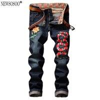 Newsosoo Brand Super Star Same Model Style Cobra Embroidery Jeans Men Fashion Italian Style Straight Jeans