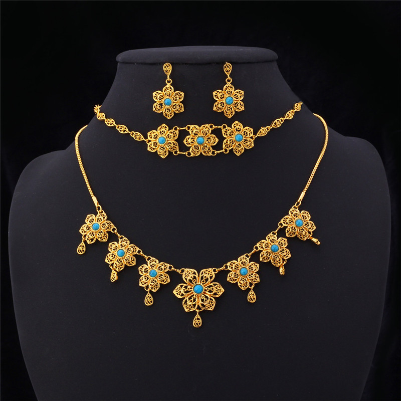 Kpop wedding necklaces drop earrings for women gold color kpop wedding necklaces drop earrings for women gold color synthetic blue stone flower necklace jewelry sets phe014 in jewelry sets from jewelry junglespirit Gallery