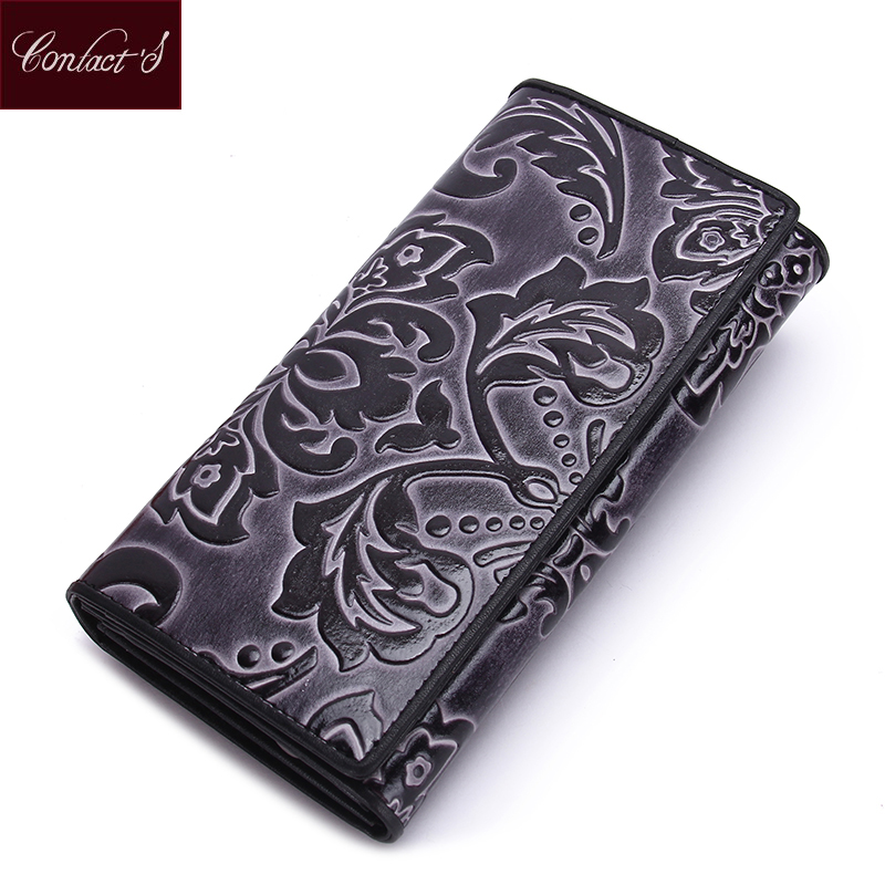 Vintage Clutch Wallet Women Fashion Floral Print Genuine Leather Hasp Design Long Ladies Coin Purse With Multi-card Photo Holder casual weaving design card holder handbag hasp wallet for women