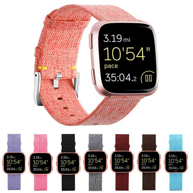 Cinghia di tela di canapa durevole per Fitbit Versa Banda di Sostituzione Stabile del Cinturino di Vigilanza per Fit bit Versa Vesa intelligente Wristband del braccialetto Wirst