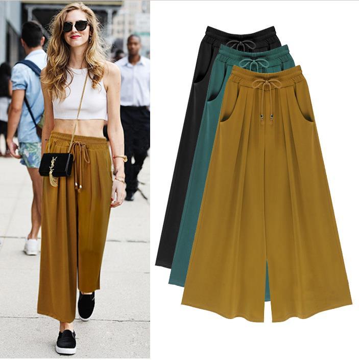 2016 summer   wide   femme loose casual women   pants     wide     leg     pants   fashion women trousers Large size pantalones mujer trousers women