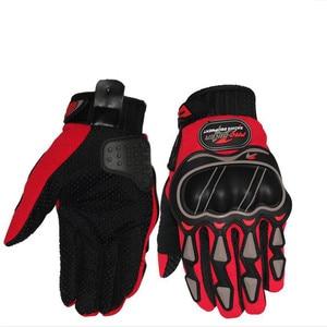 Image 1 - Leather Gloves Motorcycle Gloves Motorcycle motocross Bike Riding breathable Men Women Full Finger Touch Screen Gloves