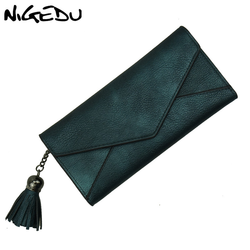NIGEDU Long Women Wallets Luxury Brand Female Portfolio Women's Purse Coin Money Bag tassel Clutch Purses envelope Wallet center console armrest storage box elbow supporting for peugeot 2008 3008 1007 2006 2013 2014 2015 2016 2017 black gray beige