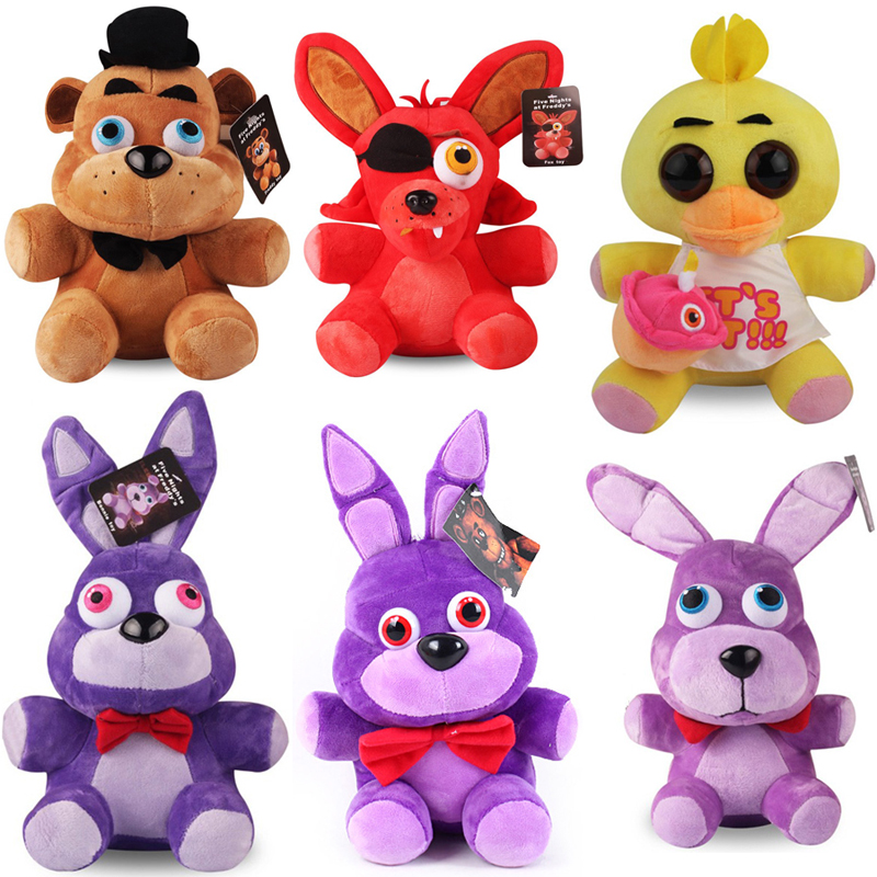 25cm Five Nights At Freddy's FNAF 4 Freddy Bear Bonnie Chica Foxy Plush Toys Soft Stuffed Animals Toys Doll For Kids Gifts