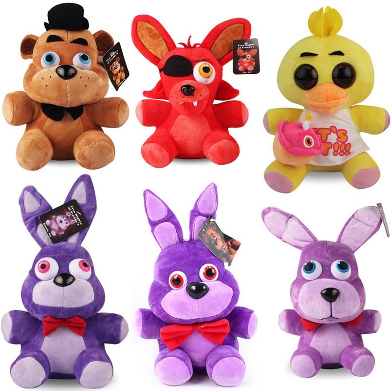25cm Five Nights At Freddy's FNAF 4 Freddy Bear Bonnie Chica Foxy Plush Toys Soft Stuffed Animals Toys Doll For Kids Gifts