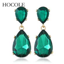 HOCOLE Hot Sale Water Drop Crystal Earrings Vintage Wedding Jewelry For Women Fashion Tear High Quality Wholesale