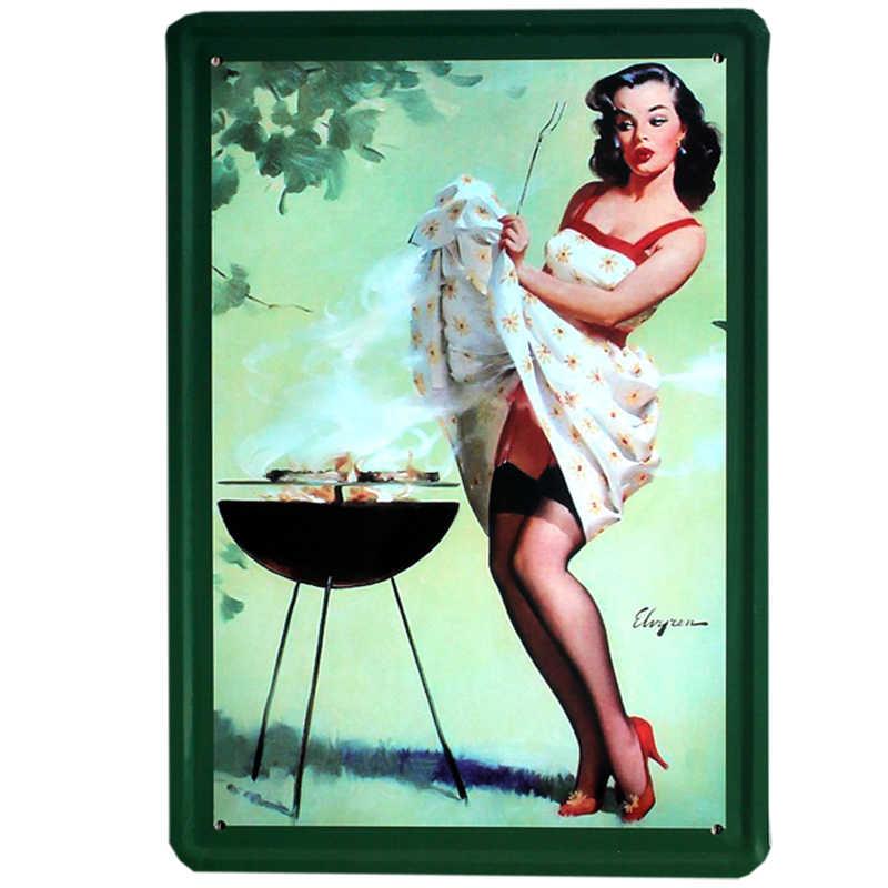 [Mike86] Pin up Lady Олово sign Art Стены фестиваль украшения паб кафе-бар вечерние Винтаж Металл живопись A-254 20*30 см