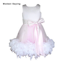 Lovely Pink Ball Gown Feather Flower Girl Dress 2017 with Bow Tea Length kid Prom Gowns for girl pageant vestido de daminha YF12