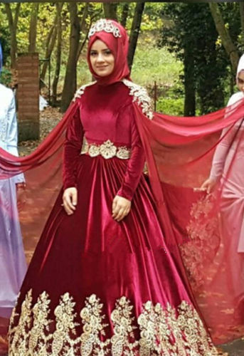 Arabic Bridal Gown Islamic Long Sleeve Red Gold Lace Muslim