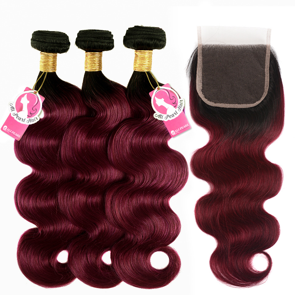 Alipearl 1b/burgundy Brazilian Body Wave Ombre Hair 3 Bundles Human Hair Bundles With Closure 10-26 Inch Remy Hair Extensions Hair Extensions & Wigs 3/4 Bundles With Closure