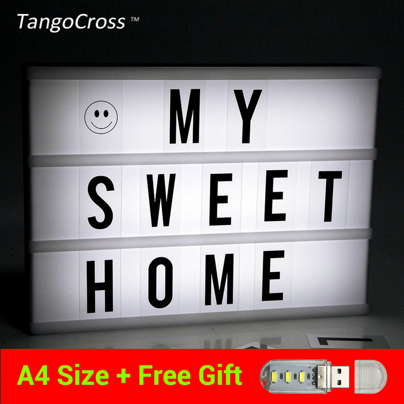 TangoCross Night Lights LED Cinema Light Box A4 Size with DIY Letters LED Lamp Cinematic Lightbox USB Battery Powered diy cinematic lightbox led night light box modern table desk lamp a4 size letters number battery usb powered home decor iy303206 page 5