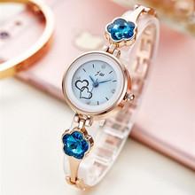 New Fashion Rhinestone zegarki damskie luksusowe ze stali nierdzewnej zegarek kwarcowy kobiety sukienka bransoletka zegarki Panie zegar relojes 2018 tanie tanio Wstrząsy 25mm Quartz 22cm Okrągłe No waterproof 10mm Szklane Papieru Bracelet Clasp AC073 Stal nierdzewna