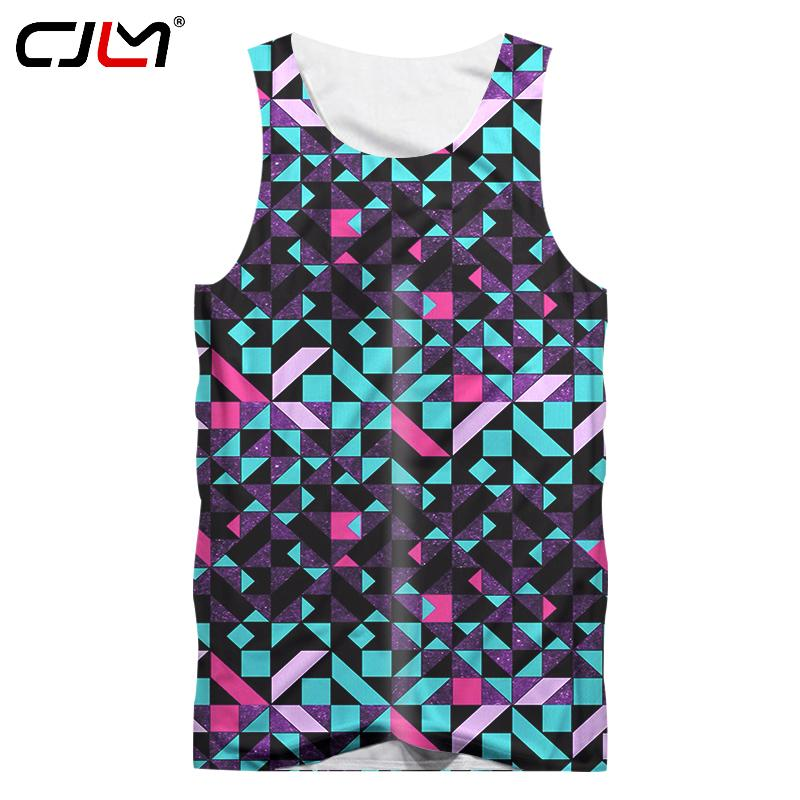 CJLM Men Tanks Hip Hop Streetwear Crewneck Sleeveless Vest Man 3d Cool Print Colorful Plaid Tank Tops Gyms Singlet