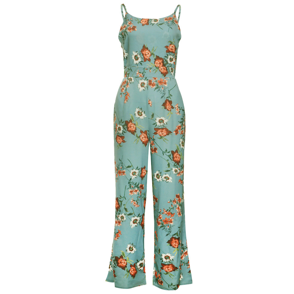 Sport   Jumpsuits   For Women Women   Jumpsuit   Womens Floral Strappy Casual Wide Legs   Jumpsuit   Romper Playsuit Loose mameluco mujer