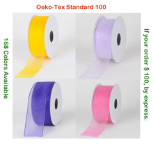 Sheer Organza Ribbon Colorful Edge Polyester 10 16 25 38 50 63 75 MM  3/8 Inch 5/8 1 1-1/2 2-1/2 3 White Red Black