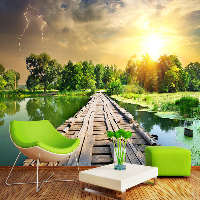 3d Wallpaper Klasik Kayu Jembatan Sungai Sunset Hutan Pemandangan