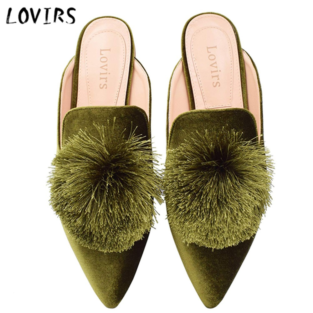 Lovirs Ladies's Velvet Backless Slip On Loafers Flats Consolation Mule Slippers Sneakers Primary Appliques Informal Trend Slippers, Low cost Slippers, Lovirs Ladies's Velvet Backless Slip On Loafers Flats Consolation...