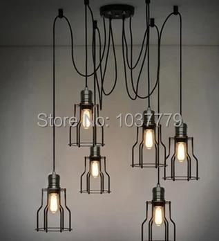 6 arm fer noir cage lustre edison ampoule vintage pendentifs fil pourrait tre r glable dans. Black Bedroom Furniture Sets. Home Design Ideas