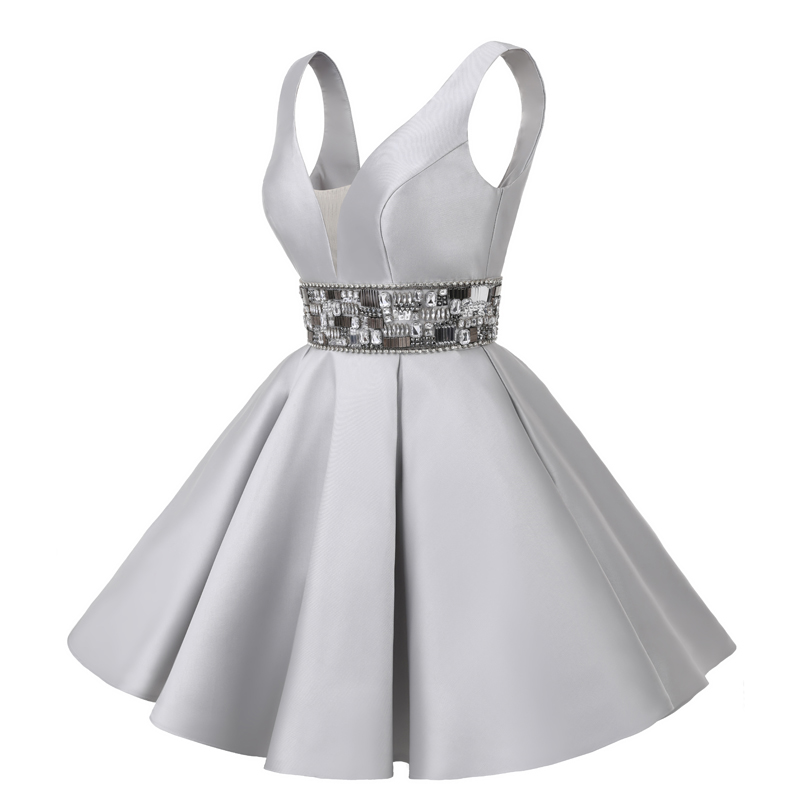 Sunvary Real Image korte homecoming jurk knie lengte mini grijs - Jurken voor bijzondere gelegenheden - Foto 3