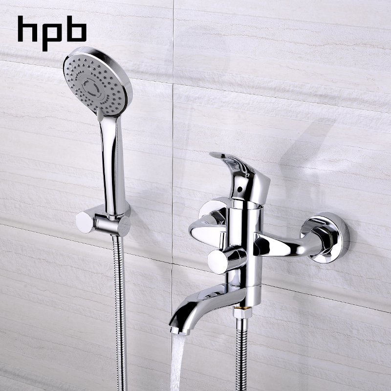 HPB Chrome Finished Bathroom Shower Faucets Bathtub Faucets Mixer Tap Single Handle Mixer Cold and Hot Water Bathroom DR5A02 micoe hot and cold water basin faucet mixer single handle single hole modern style chrome tap square multi function m hc203