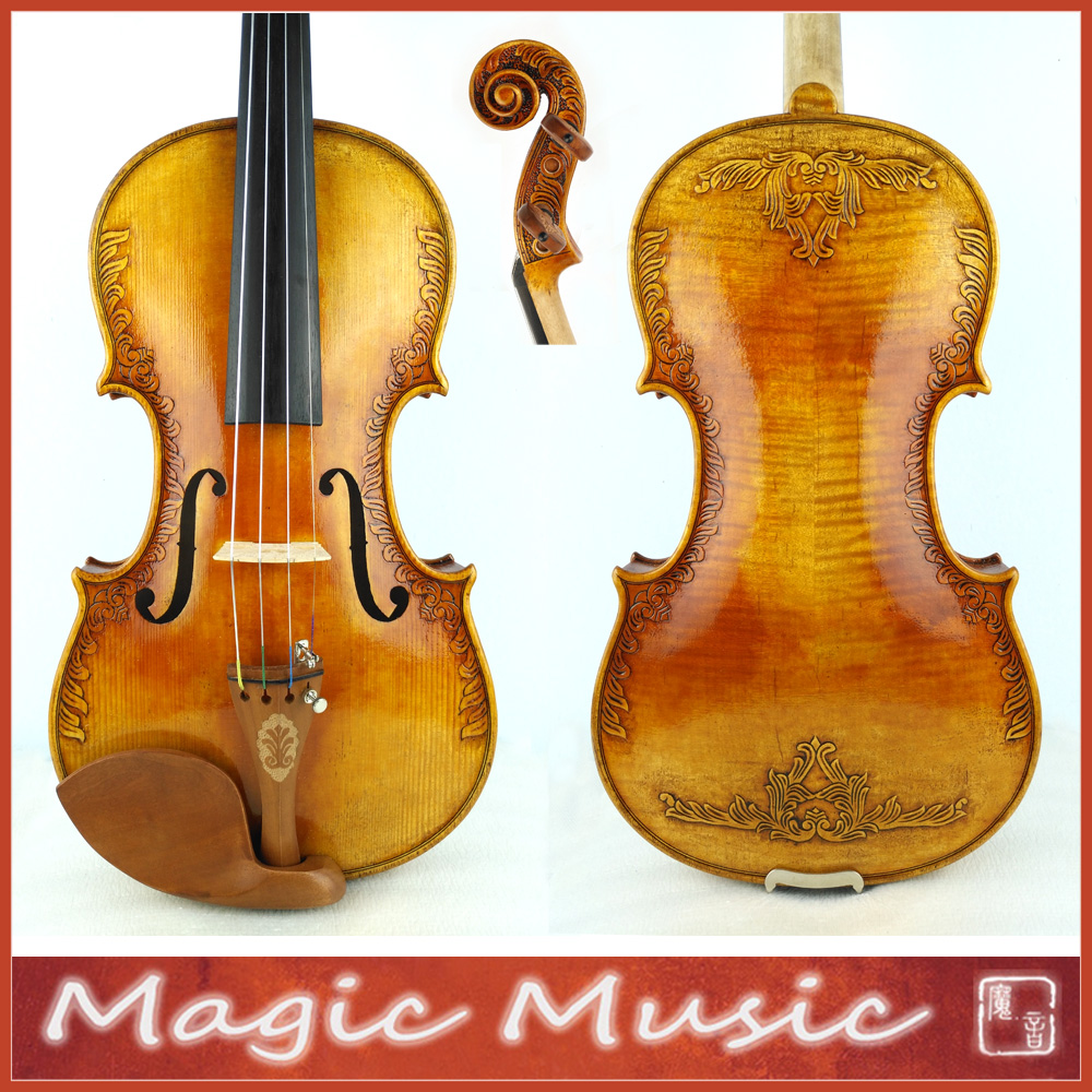 With Beautiful Handcrafts Strad Royal Fleur de Lys Violin Size 4 4 Excellent varnish style
