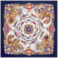 Fashion Twill Silk Women Scarf 130*130cm Euro Royal Carousel Flowers Print Square Scarves High Quality Gift Large Silk Shawl