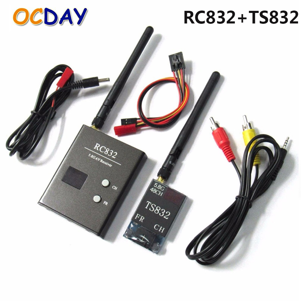 OCDAY TS832 RC832 Boscam 5.8G 48CH 600mW FPV Transmitter Receiver Combo AV VTX RX Set 7.4-16V For FPV Multicopter high quality boscam rc832 fpv 5 8g 48ch wireless av receiver for fpv multicopter