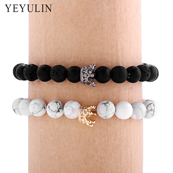 Black White Gold Stone Beads Crown Bracelet 1