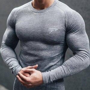 2021 nova marca de corrida camisa masculina de manga longa camisa de ginásio dos homens camisa de compressão esportiva de fitness camisas de ajuste seco