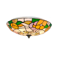 16 Classic Tiffany Flower Pattern Flush Mount Lamps E26 E27 European Style Stained Glass Ceiling Lights