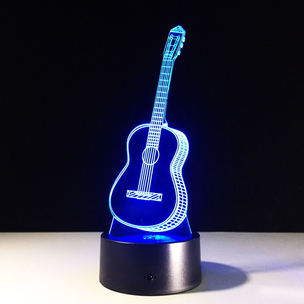 New 3D Novelty Acrylic Guitar LED Lights Touch Switch Small Night Light USB Lamp Home Decoration Christmas Gift