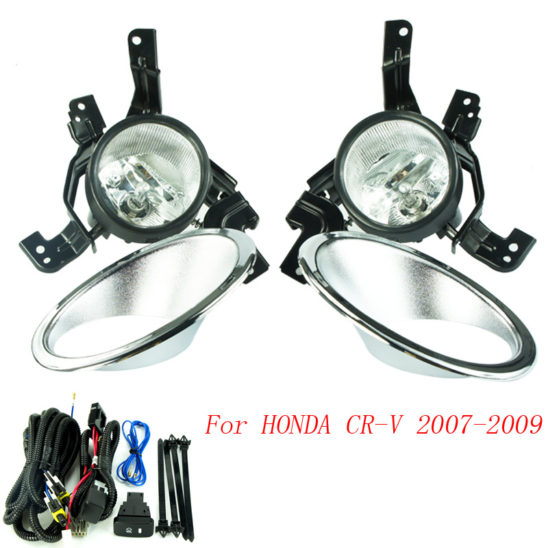 CNSPEED Fog light for HONDA CRV 2007-2009 fog lamps Clear Lens Bumper Fog Lights Driving Lamps TT100586-CL 1set front chrome housing clear lens driving bumper fog light lamp grille cover switch line kit for 2007 2009 toyota camry