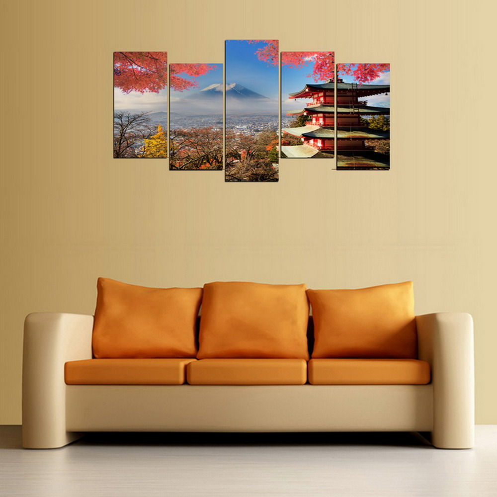 5 Panels Fuji Mountain And Old Tower In Japan Canvas Painting for ...