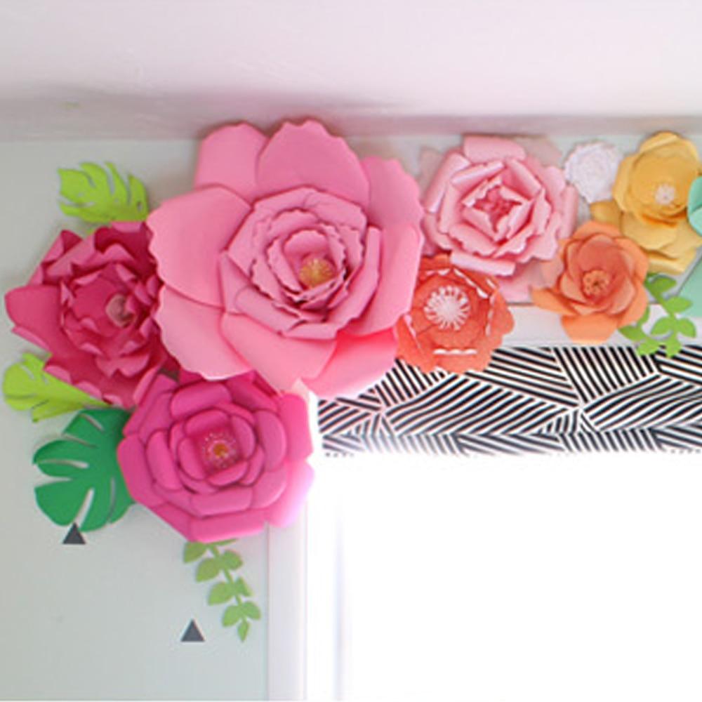 2pcs 20cm Diy Handwork Paper Flowers Round Leave Wedding Birthday