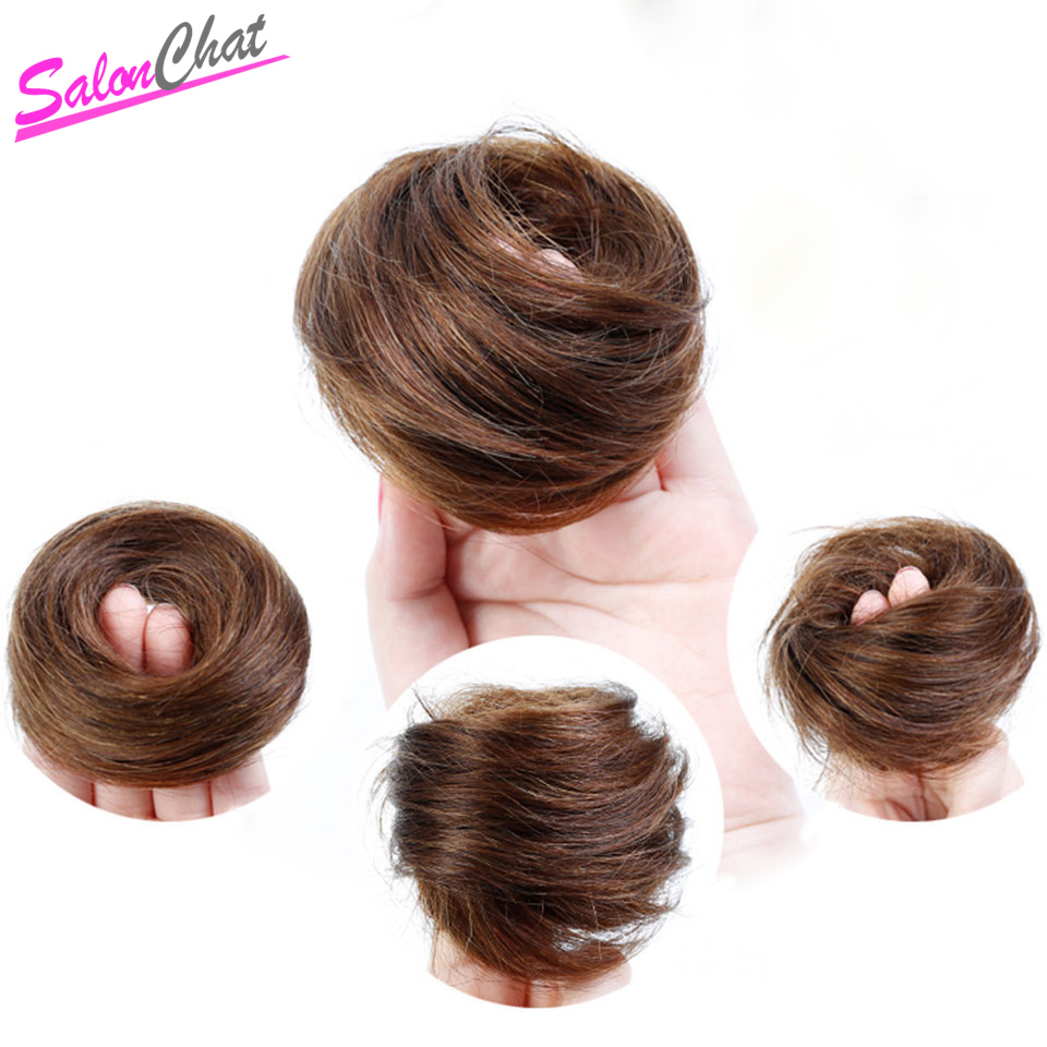 SalonChat Remy Hair Bun For Women Short Chignon Human Hair Extension Accessories Fake Fast Padding Bun Clip Donut Scrunchie(China)