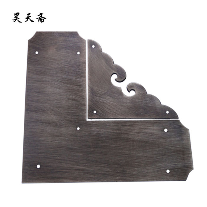 [Haotian vegetarian] antique copper wrap angle / corner piece / antique furniture copper ornaments / cupboard corners HTG-057 square corners hanging antique copper 2 candelabra sockets clear glass