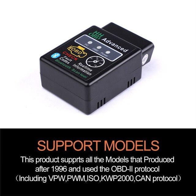 HH OBD ELM327 Bluetooth OBD2 can bus obdii Check Engine Voiture Scanner Diagnostique Automatique Outil Adaptateur D'interface Pour Android PC 2