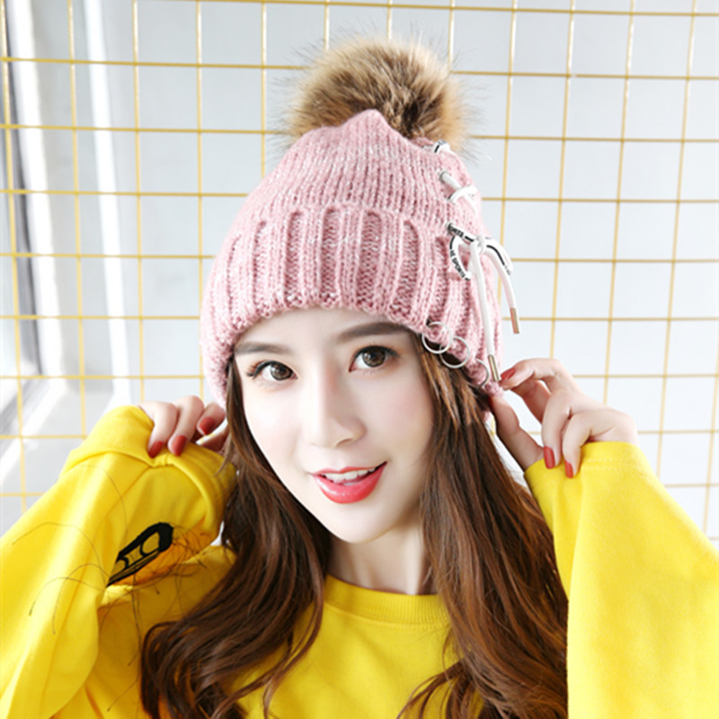 57a19a7ebd92e7 Winter Hat Women Beanie Girls Pom Poms Hats with Large Raccoon Hair Ball  Tie Rope Bow Knitted Rings Super Quality Snow Caps -in Skullies & Beanies  from ...