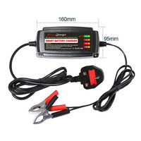 Car Smart Lead Acid Battery Charger Automobile Accumulator Charger Car 4 Stage Switching Mode LED Indicator Light UK Plug12V 5A