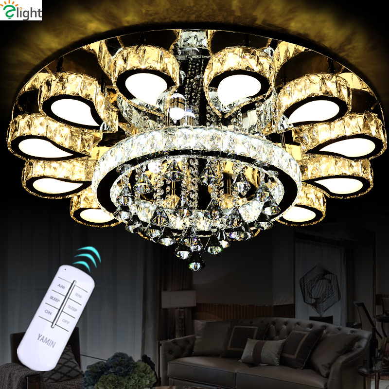 Remote Controller Dimmable Led Plated Chrome Mirror Steel Ceiling Chandelier Modern Luxury Lustre Cristal Led Round